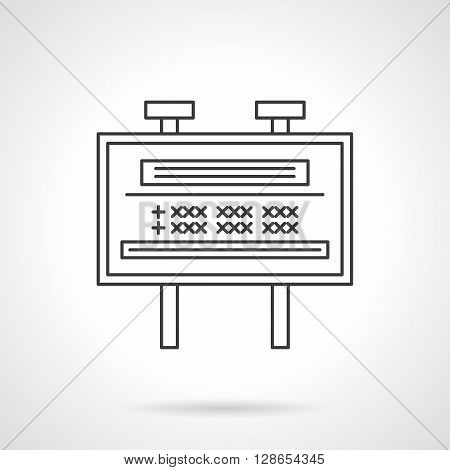 Outdoor advertising sites. Marketing elements. Billboard with ads and lights. Flat line style vector icon. Single design element for website, business.