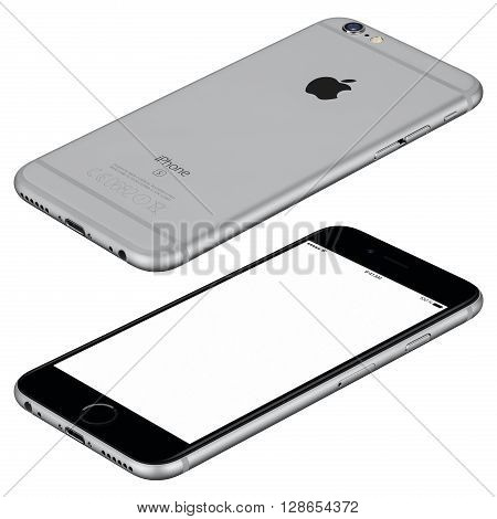 Varna Bulgaria - October 25 2015: Space Gray Apple iPhone 6s mockup lies on the surface clockwise rotated with white screen and back side with Apple Inc logo. Isolated on white.