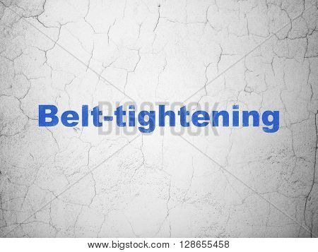 Business concept: Blue Belt-tightening on textured concrete wall background