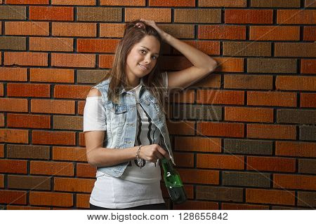 Young Woman With A Beer