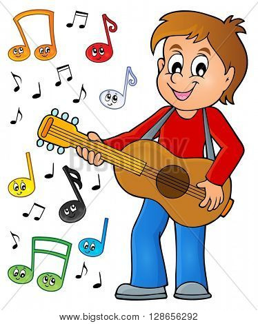 Boy guitar player theme image 2 - eps10 vector illustration.