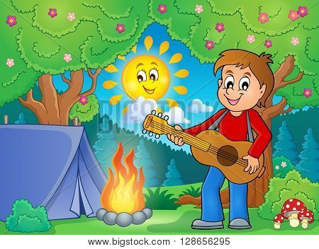 Boy guitar player in campsite theme 1 - eps10 vector illustration.