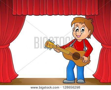 Boy guitar player on stage theme 1 - eps10 vector illustration.