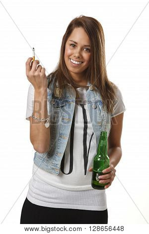 Young Woman Smoking And Drinking