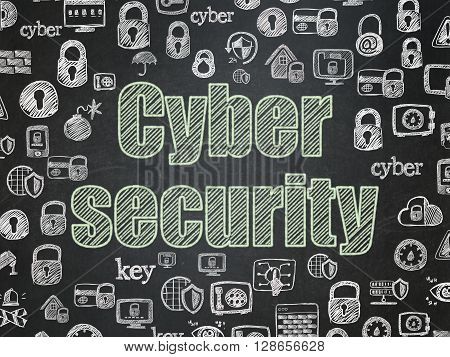 Safety concept: Chalk Green text Cyber Security on School board background with  Hand Drawn Security Icons, School Board