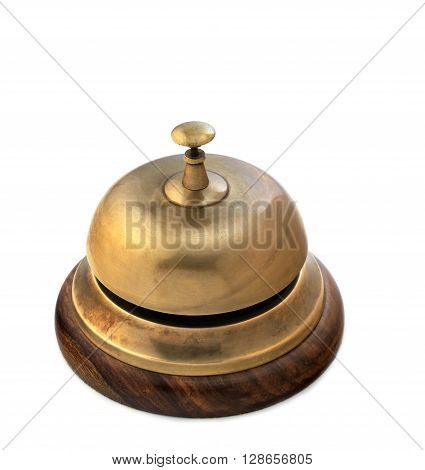 brass reception bell isolated on a white background