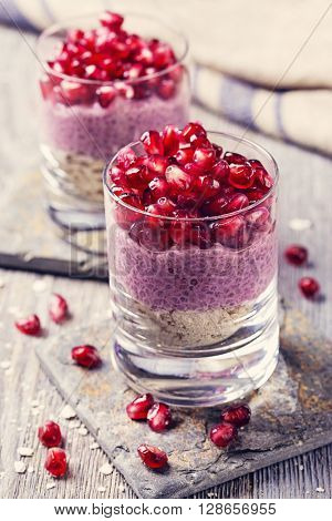 Chia seeds acai pudding with pomegranate