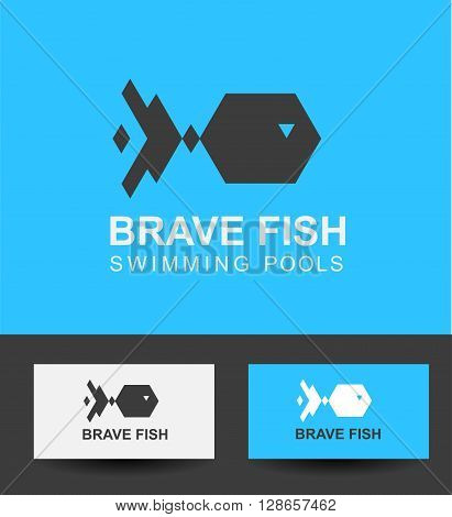 Vector logo concept brave fish  template for swimming pool. Abstract emblem for Pool, swimming club, swimmer silhouette, water sport games or Seafood restaurant idea