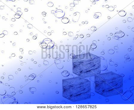 ice cold fizzy drink illustration showing ice cubes at the bottom