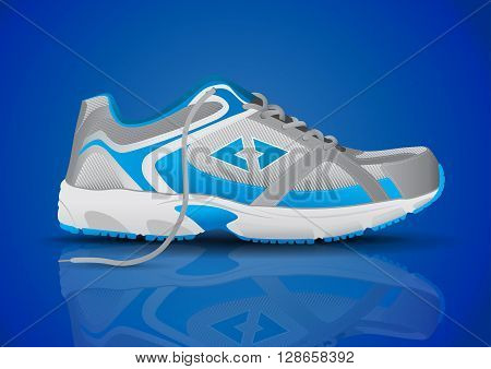 Stylish Blue Sneaker Sports Shoe Vector Illustration