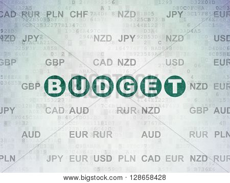Banking concept: Painted green text Budget on Digital Data Paper background with Currency