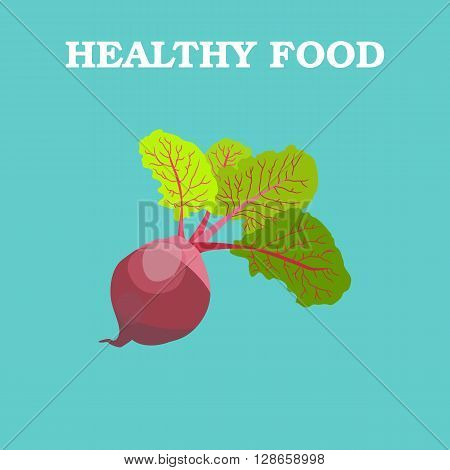 Beetroot icon. Flat style vector illustration. Vegetarian food. Healthy lifestyle. Raw food diet