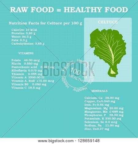 Nutrition facts for celtuce in flat style