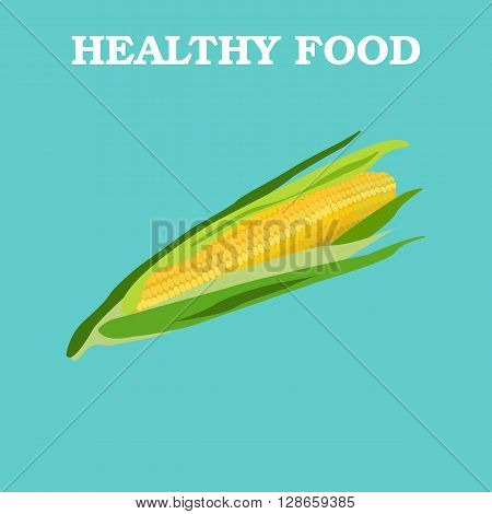 Corn icon. Flat style vector illustration. Vegetarian food. Healthy lifestyle. Raw food diet