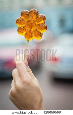 Young Girl Holding Flower Shaped Lollypop On A Wooden Stick