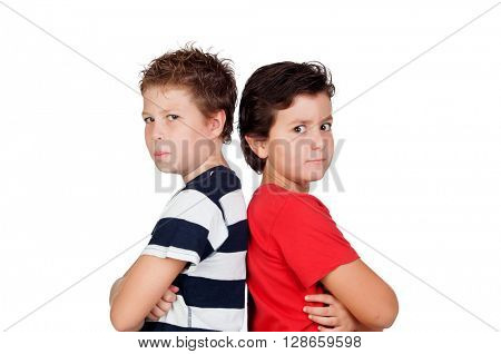 Two friends angry isolated on a white background