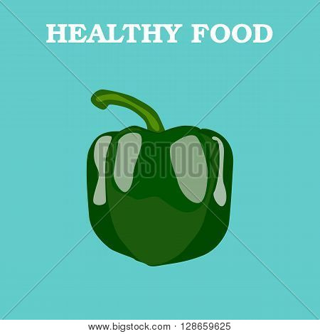 Pepper icon. Flat style vector illustration. Vegetarian food. Healthy lifestyle. Raw food diet