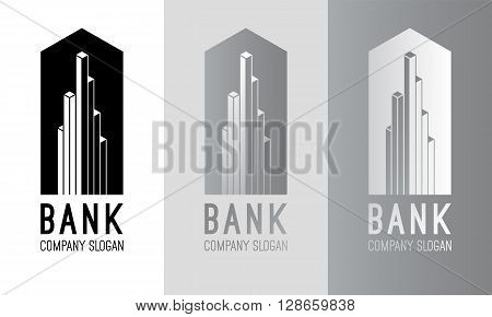 Vector bank logo design. Silver bank logo. Black and white bank logotype. Bank sign. Bank symbol. Bank building vector emblem. Modern emblem for your business. Line logo Abstract finance concept.