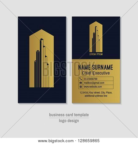 Abstract vertical gold and blue vector business card template. Visit card layout. Corporate business card . Modern business card with abstract isometric logo and icons. Vector illustration.