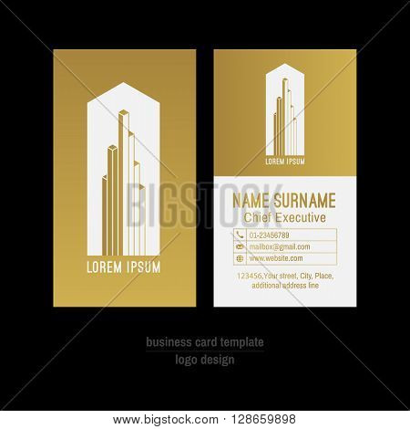 Abstract vector business card template. Gold and white business card design. Gold corporate business card background. Modern business card with abstract logo. Successful businessman business card.