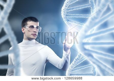 Man science technologist in laboratory