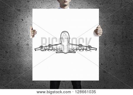 Man showing banner