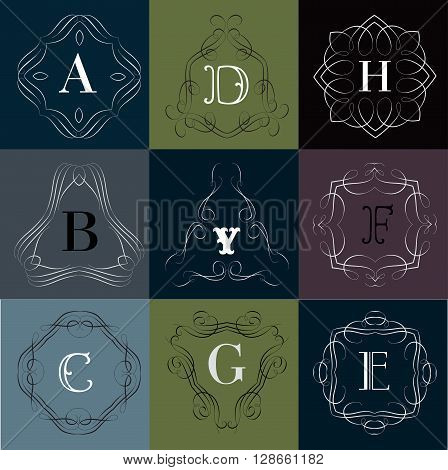 Monogram logo template with  calligraphic elegant ornament. Identity design with D, B, Y, F, C, G, E letter for shop, store or restaurant, heraldic, barbershop or barber, beauty salon, justic lawyer, boutique or hotel