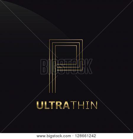 Ultrathin P Letter logo template. Golden P letter symbol
