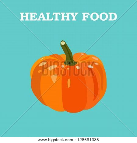 Pumpkin icon. Flat style vector illustration. Vegetarian food. Healthy lifestyle. Raw food diet