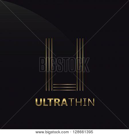 Ultrathin U Letter logo template. Golden U letter symbol