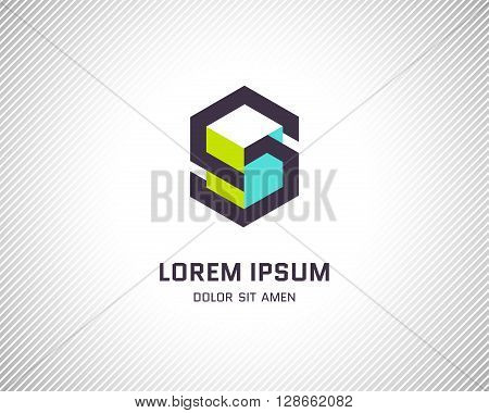 Combination of Letter S. Abstract Logo Design Template. Creative Color Geometric Concept Icon