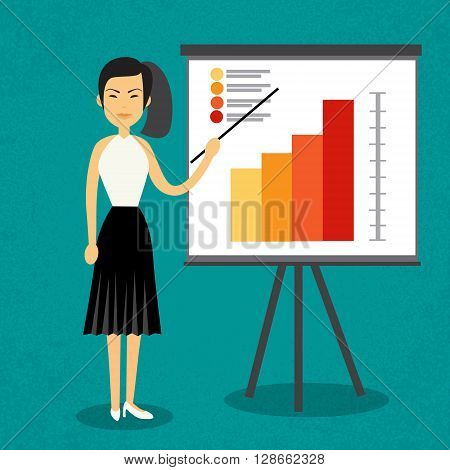 Asian Business Woman With Flip Chart Seminar Training Conference Brainstorming Presentation Financial Flat Vector Illustration