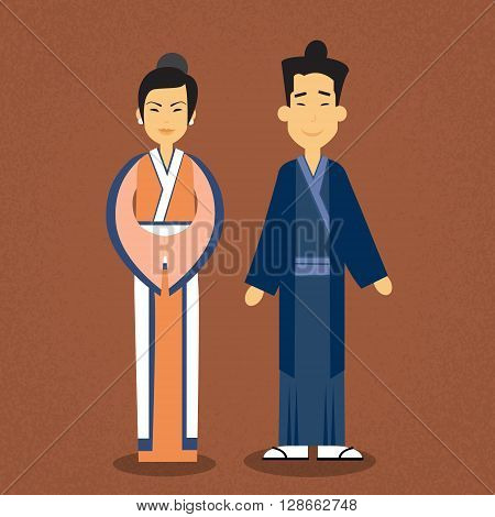 Asian Couple Asia Man Woman Wear Traditional Clothes Flat Vector Illustration