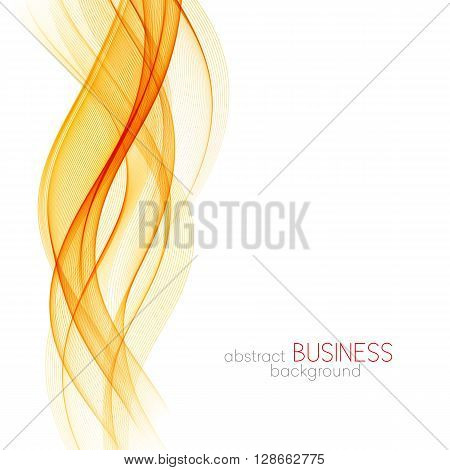 Abstract orange color wave design element. Abstract smooth color wavy vector. Curve flow orange motion illustration. Orange smoke wave lines. Orange wave