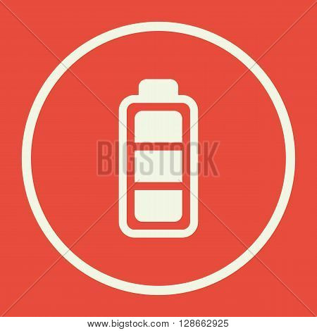 Battery Icon In Vector Format. Premium Quality Battery Symbol. Web Graphic Battery Sign On Red Backg