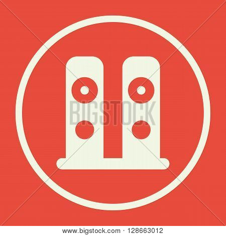 Speakers Icon In Vector Format. Premium Quality Speakers Symbol. Web Graphic Speakers Sign On Red Ba