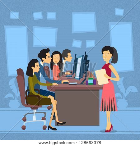 Asian Business People Group Work At Computer Desktop Businesswoman With Paper Document Secretary Flat Vector Illustration