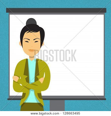 Asian Business Woman With Flip Chart Copy Space Seminar Training Conference Brainstorming Presentation Flat Vector Illustration