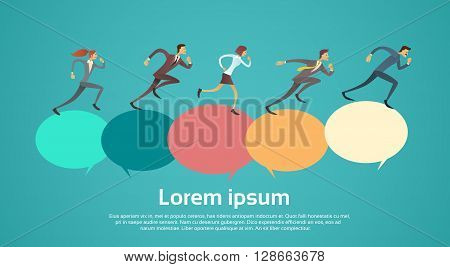 Business People Group Run Team Leader Competition Concept Chat Bubble With Copy Space Flat Vector Illustration