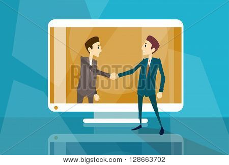 Businessman Shake Hand Web Virtual Internet Business Meeting Computer Screen Flat Vector Illustration