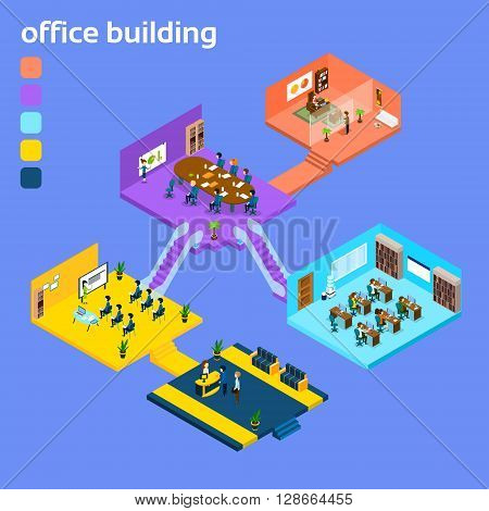 Office Building Interior Isometric 3d Vector Illustration