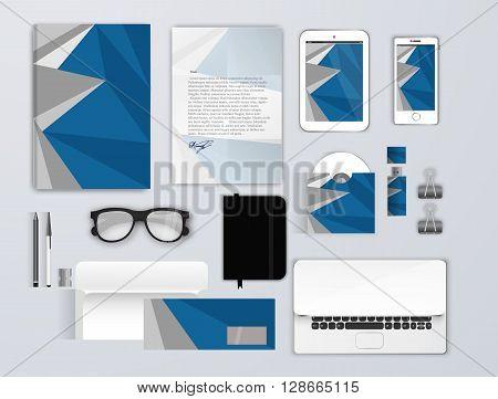 Corporate identity template set. Business stationery mock-up for branding design. Letter envelope, card, catalog, pen, pencil, tablet pc, letterhead, brochure cover