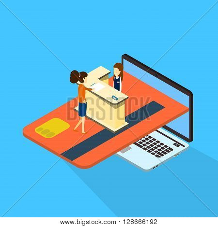 Woman Client Consultation Online Payment Laptop Computer With Credit Card 3d Isometric Vector Illustration