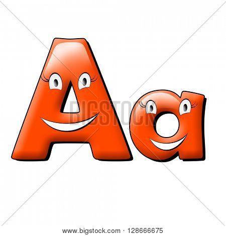 Small eye and smile orange alphabet. 3d illustration.