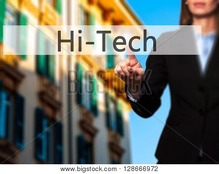 Hitech - Businesswoman Hand Pressing Button On Touch Screen Interface.
