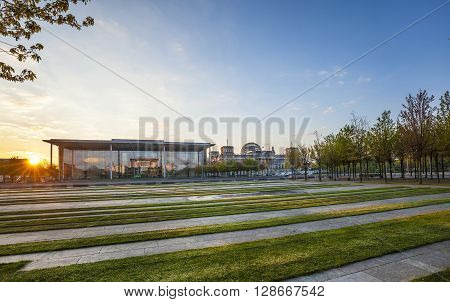 The Bundeskanzleramt (german For Federal Chancellery)  In Sunrise