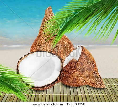 Fresh closed coconut and two halves of open coconut with green palm leaf on beach background.