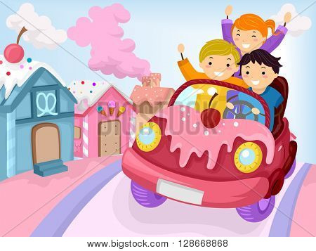 Stickman Illustration of Kids Driving Around a Town Covered with Candy