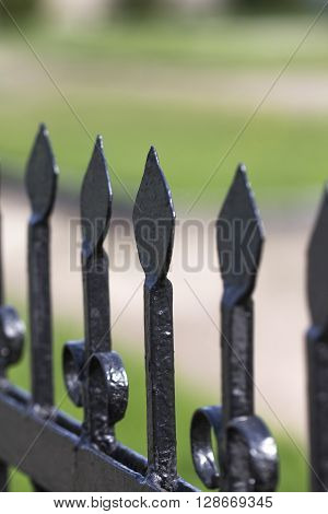 View individual wrought- iron fence elements (black)