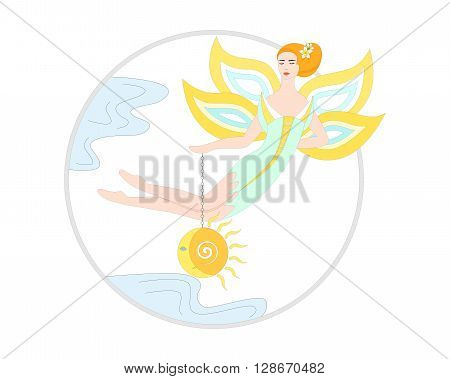 Illustration - concept - with beautiful fairy who is holding sun and moon.